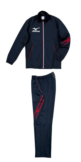 ミズノカラーズ warm up suit top and bottom set mizuno Navy x White x Red