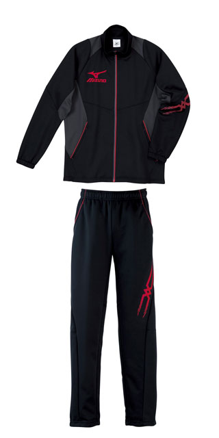 ミズノカラーズ warm up suit top and bottom set mizuno black x Red