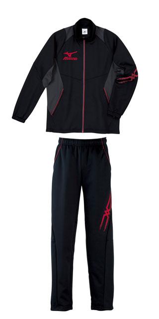 Mizuno colors warm up suit top and bottom set mizuno black x Red