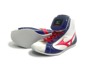 Thong red type ミズノショート boxing shoes and toe white ( white x Navy * red ) ランバードロゴ on original shoe bag with (boxing supplies & ring shoes)