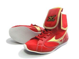 Mizuno reinforced with folded short boxing shoes ( our original red x metal gold ) ランバードロゴ on original shoe bag with (boxing supplies & ring shoes)