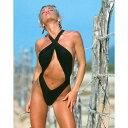 【売れ筋】海外水着レディースワンピース/ブラック ツイストスリングショット&バッククロスワンピース裏地有り(水着XS~1X)海外旅行・リゾート・モデル