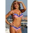 海外水着レディース ビキニ/アメリカ 国旗 組紐のワイヤー入りブラ&V前後ショーツビキニセット(水着XS~LL)海外旅行・リゾート・モデル