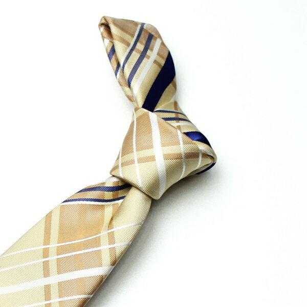 【ネクタイ】イエロー(ベース)ブルー&ホワイト(チェック) ブランド FAIRFAX [フェアファクス] シルク100%:オーダースーツ BRAGOZZO