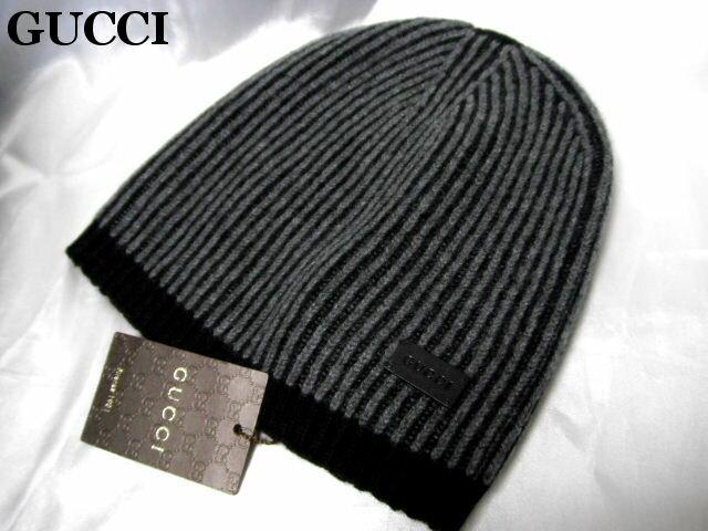 GUCCI グッチ ニットキャップ ニット帽 ブラック×グレー【未使用】【中古】【新品】楽天カード分割