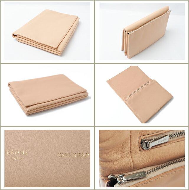celine beige leather clutch bag trio