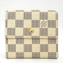 【美品】LOUIS VUITTON ルイヴィトン ポルトフォイユ・エリーズ ダミエ・アズール N61733 ダミエ・アズールキャンバス レディース財布 二つ折り財布(小銭入れあり)【中古】