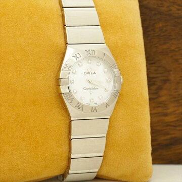 【ポイント3倍】OMEGAコンステレーション12PダイヤホワイトシェルConstellation腕時計中古