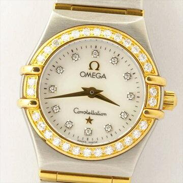 【ポイント3倍】OMEGAコンステレーションミニ12PダイヤホワイトシェルConstellation腕時計中古