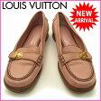 ルイヴィトン Louis Vuitton ローファー 靴 シューズ レディース ♯37 コアラ金具付き ロゴ ピンク×ブラウン×ゴールド レザー 【中古】 C845