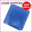 ルイヴィトン Louis Vuitton 二つ折り札入れ ポルトビエ6カルトクレディ エピ トレドブルー PVC×レザー 【中古】 C875 ★