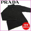 プラダ PRADA ポロシャツカットソートップスサイズS ブラック C 100% 【中古】 G126 .