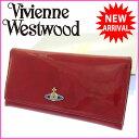 ( 美品 ・即納) ヴィヴィアン・ウエストウッド Vivienne Westwood 長財布 ファスナー 二つ折り メンズ可 オーブモチーフ付き レッド系 エナメルレザー 【中古】 G270