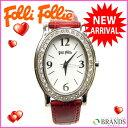 フォリフォリ Folli Follie 腕時計 ラインストーン ボルドー レザー×シルバー素材 (あす楽対応)( 美品 ・即納)【中古】 J152 ★