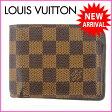 ルイヴィトン Louis Vuitton 二つ折り札入れ /メンズ可 /ポルトフォイユミュルティプル ダミエ N60895 エベヌ(ブラウン系) PVC×レザー (あす楽対応)(参考定価43050円)【中古】 J1006 ★