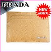 (超美品) プラダ/PRADA/カードケース/パスケース/メンズ可//ライトブラウン/レザー 新品同様(中古) J1442