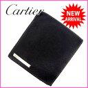 カルティエ Cartier 二つ折り財布 /メンズ可 サントス ブラック レザー (あす楽対応)(・ 人気 )【中古】 J1791