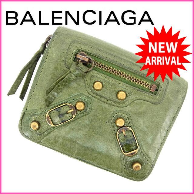 バレンシアガ BALENCIAGA 二つ折り財布 /ラウンドファスナー /メンズ可 グリーン レザー ( ・)【】 J2487 サイフ お財布 安い セール