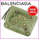 バレンシアガ BALENCIAGA 二つ折り財布 /ラウンドファスナー /メンズ可 グリーン レザー (