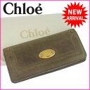 クロエ Chloe 長財布 ファスナー 二つ折り メンズ可 ベイ ロゴプレート グレー×ゴールド レザー (あす楽対応) 人気 【中古】 J3520 ★