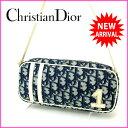 クリスチャン・ディオール Christian Dior ショルダーバッグ 化粧ポーチ レディース トロッター ネイビー×ホワイト PVC×エナメル (あす楽対応) 人気 【中古】 J4562
