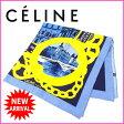 セリーヌ CELINE スカーフ レディース ブルー×ゴールド 100%シルク (あす楽対応) 人気 美品 【中古】 J4994