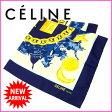 セリーヌ CELINE スカーフ レディース ネイビー×ゴールド 100%シルク (あす楽対応) 人気 美品 【中古】 J4995
