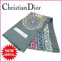 樂天商城 - クリスチャン・ディオール Christian Dior スカーフ グレー 100%シルク (あす楽対応) 人気 美品 【中古】 J5488 .