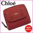 (激安・即納) クロエ Chloe ラウンドファスナー二つ折り財布 レディース ロゴ レッド レザー 【中古】 K007