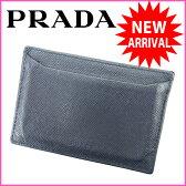 プラダ PRADA カードケース メンズ可 ブラック レザー (あす楽対応)美品 人気【中古】 L299