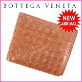(良品) ボッテガ・ヴェネタ BOTTEGA VENETA 二つ折り札入れ メンズ可 イントレチャート ブラウン レザー 【中古】 M1037