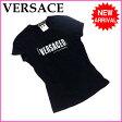 ヴェルサーチ VERSACE Tシャツ /レディース スタッズ付き ロゴプリント ブラック C/94% ET/6% (あす楽対応)(良品・即納)【中古】 R998 ★