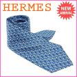エルメス HERMES ネクタイ メンズ ブルー 100%シルク (あす楽対応) 人気【中古】 B745 ★