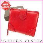 ボッテガ・ヴェネタ BOTTEGA VENETA 二つ折り財布 メンズ可 イントレチャート レッド レザー (あす楽対応) 【中古】 J7231