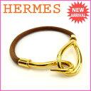 エルメス HERMES ブレスレット アクセサリー メンズ可 ジャンボブレス ブラウン×ゴールド レザー×シルバー素材 【中古】 E804