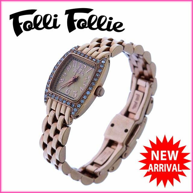 フォリフォリ Folli Follie 腕時計 クォーツ レディース ラインストーンベゼル スクエアフェイス ピンクゴールド×クリア ステンレススチール×ラインストーン (対応) 美品 【】 J7526 .  レディース可 【5%オフ】