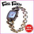 フォリフォリ Folli Follie 腕時計 ハートチェーン クォーツ レディース ラインストーン付き スクエアフェイス ゴールド×クリア ステンレススチール×ラインストーン (あす楽対応) 【中古】 J7681
