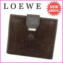 ロエベ LOEWE 二つ折り財布 メンズ可 ブラウン スエード×レザー 【中古】 E913...