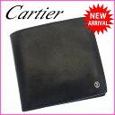カルティエ Cartier 二つ折り財布 コンパクトサイズ メンズ パシャ ブラック×シルバー レザー (あす楽対応) 美品 人気 【中古】 B687 ★