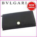 ブルガリ BVLGARI 長財布 ファスナー 二つ折り メンズ可 ロゴボタン ブラック×シルバー レザー (あす楽対応) 【中古】 J8276