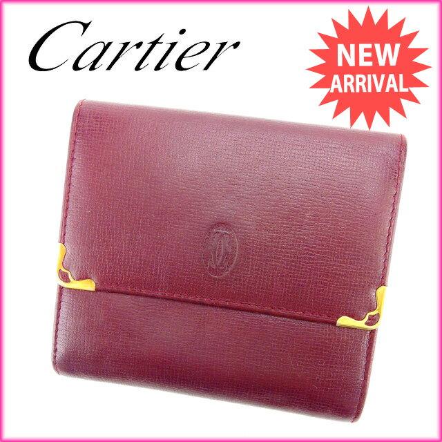 カルティエ Cartier Wホック財布 メンズ可 マストライン ボルドー レザー 【】 J8914 サイフ お財布 安い セール