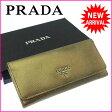 プラダ PRADA 長財布 ファスナー 二つ折り メンズ可 ロゴ 1M1132 ゴールド×シルバー レザー (あす楽対応) 人気 【中古】 J8538