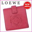 ロエベ LOEWE Wホック財布 二つ折り コンパクトサイズ レディース アナグラム ピンク レザー (あす楽対応) 人気 【中古】 J9076 ★