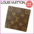 ルイヴィトン Louis Vuitton 二つ折り札入れ メンズ可 モノグラム ブラウン PVC×レザー (あす楽対応)激安 セール【中古】 J7368