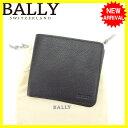 安い 訳あり saleバリー Bally 二つ折り札入れ メンズ ブラック レザー 【中古】 J11076
