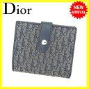 クリスチャンディオール Christian Dior Wホック財布 二つ折り財布 男女兼用 トロッター ネイビー系×シルバー キャンバス×レザー (あす楽対応) 人気 【中古】 J11305