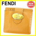 フェンディ FENDI Wホック財布 二つ折り財布 男女兼用 セレリア ライトブラウン×ゴールド レザー 【中古】 E968