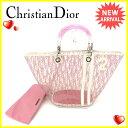 クリスチャンディオール Christian Dior ハンドバッグ ポーチ付き レディース ピンクホワイト ビニール×レザー (あす楽対応) 人気 【中古】 Q196