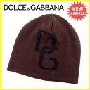 ドルチェ&ガッバーナDOLCE&GABBANAニット帽帽子レディースメンズ可ロゴブラウン×ブラックW100%(あす楽対応)美品【中古】J12064★