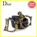 クリスチャンディオール Christian Dior ベルト ♯70サイズ レディース CDバックル ブラック×アンティークゴールド レザー×ゴールド金具 【中古】 C2463